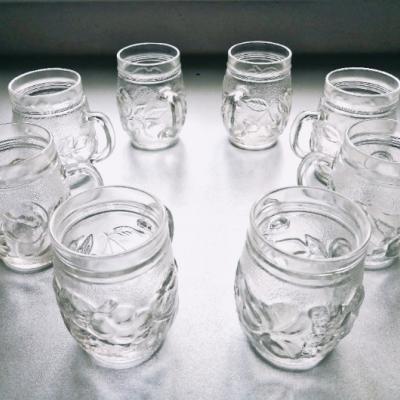 8-teiliges Gläser-Set m. Henkel und Früchte-Relief - thumb