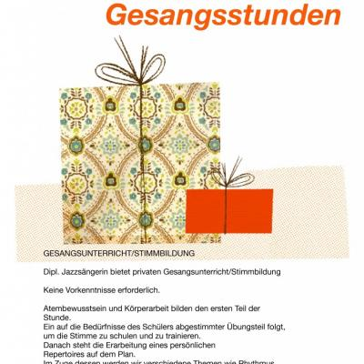 Gutschein für 5 Einheiten GESANGSUNTERRICHT/ STIMMBILDUNG - thumb