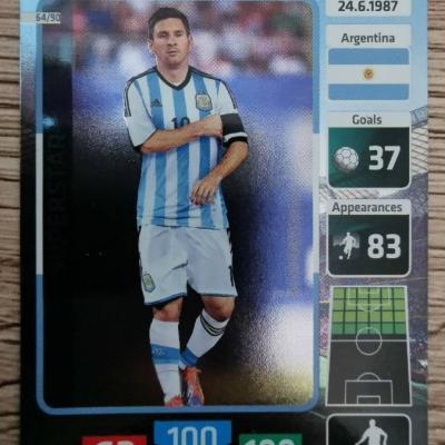 Die Fußballstars WM2014 - Lionel Messi - Superstar-Sammelkarte - thumb