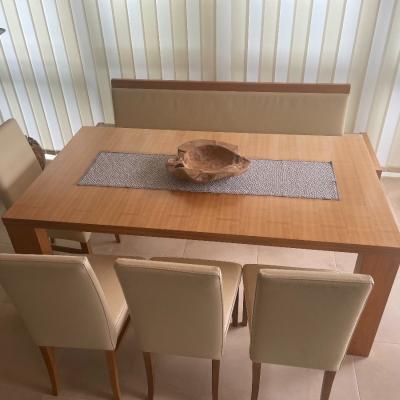 Esstisch mit Bank und 4 Stühlen / echt Leder!! - thumb