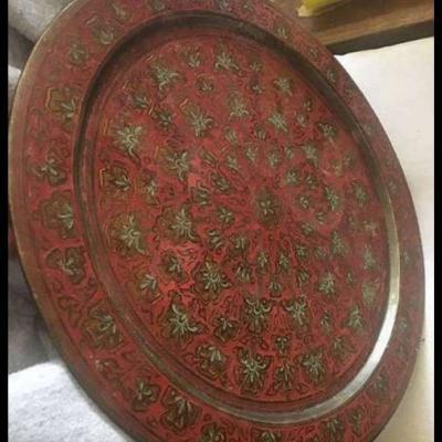Servierteller aus Kupfer aus Indien - thumb