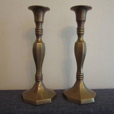 2 Stück alte Kerzenständer - Messing - Kerzenhalter - Höhe: 21cm - thumb
