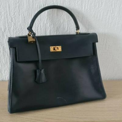 Hermes Tasche Kelly Bag Vintage Dunkel Blau - thumb