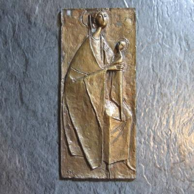 Heiligenbild Metall - 80er Jahre - 16,5cm x 7,5cm - Mutter Gottes - thumb