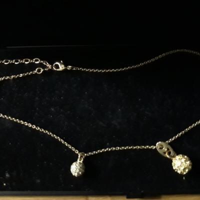 Swarovski Halskette mit zwei Anhängern - thumb