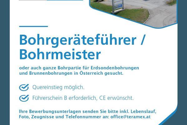 Bohrgeräteführer / Bohrmeister gesucht