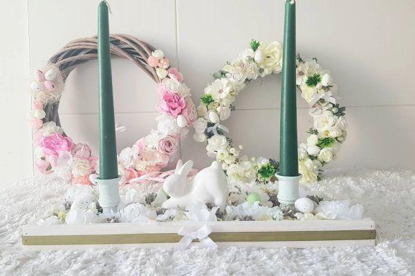 Ostern/Frühlings Tischdekoration mit Kerze