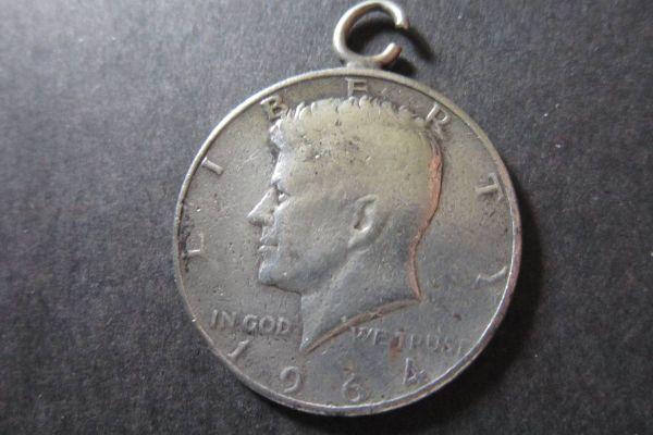 Half Dollar Münze mit Öse - Kennedy - 1964 - Silber - Vereinigte Staat
