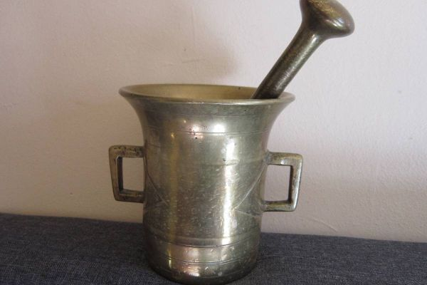 Antiker Bronze / Messing Mörser mit Stössel - Massiv - Deko - Vintage