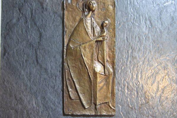 Heiligenbild Metall - 80er Jahre - 16,5cm x 7,5cm - Mutter Gottes