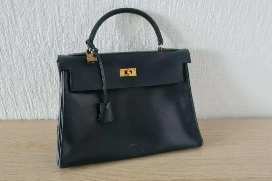 Hermes Tasche Kelly Bag Vintage Dunkel Blau - Bild 1